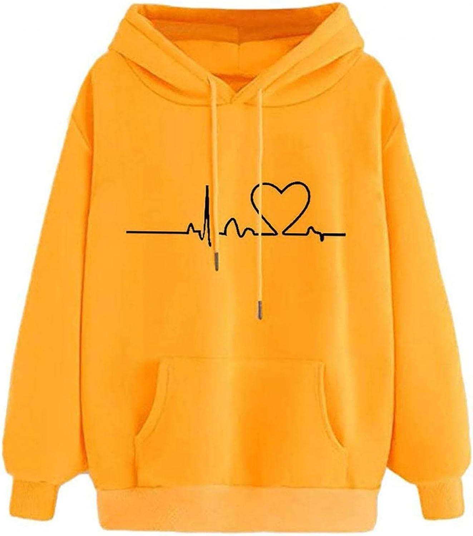 Hoodies for Womens, Winter Fashion Long Sleeve Sweatshirt Heartbeat Print Casual Drawstring Pullover Jumper Tops