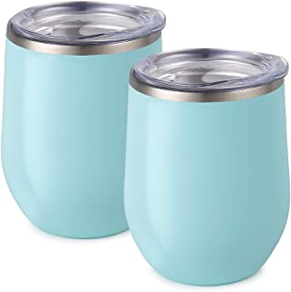 Maars Bev Stainless Steel Stemless Wine Glass Tumbler with Lid, Vacuum Insulated 12 oz Seafoam Blue Cup | Spill Proof, Travel Friendly, Fun Cocktail Drinkware - 2 Pack Set
