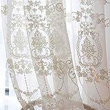 JUANstore 2 Panels Europäischen Tüll Vorhang Stickerei Weiße Spitze Vorhang Ösen Für Wohnzimmer Schlafzimmer Balkonfach Bullauge Fenster Dekoration,Weiß,W200xL270cm