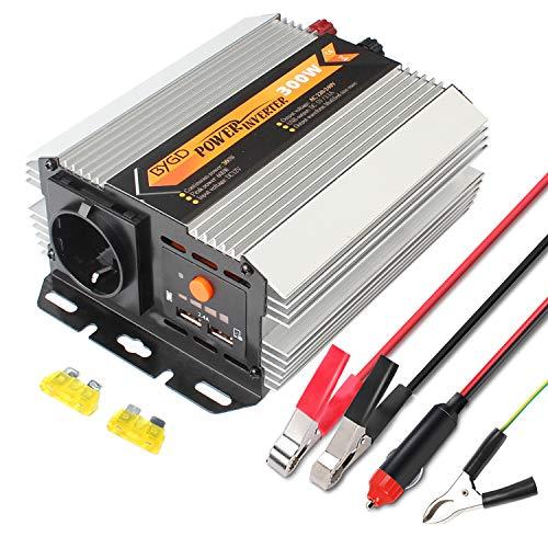 BYGD 300W/600W Spannungswandler Wechselrichter 12V auf 230V Inverter und 2 USB Anschlüsse inkl. Kfz Zigarettenanzünder Stecker