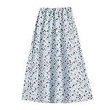 AKOMOWO Falda para mujer de verano, bohemia, con estampado floral, cintura alta, elástica, media longitud
