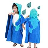InsHere Hooded Poncho Towel for Kids, Organic Cotton Toddler Robes Wrap, Large Size 25'x25' Cover up for Shower Beach Swim, Super Absorbent & Soft with Cartoon Design Blue Dolphin