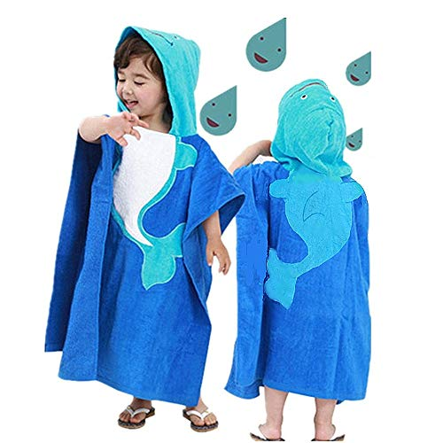 """InsHere Hooded Poncho Towel for Kids, Organic Cotton Toddler Robes Wrap, Large Size 25""""x25"""" Cover up for Shower Beach Swim, Super Absorbent & Soft with Cartoon Design Blue Dolphin"""