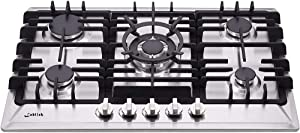 30 Inch Gas Cooktop, Sealed 5 Burners Gas Cooktop,Stainless Steel Gas Cooktop, LG/NG Convertible,Heavy-Duty Grates Gas Stovetop,Gas Burner Thermocouple Protection…