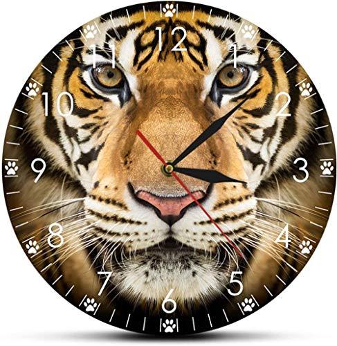Reloj De Pared Reloj De Pared Madera Cara De Tigre Reloj De Pared Moderno Decoración Para El Hogar Vida Salvaje Animales Retrato De Tigre Arte De La Pared Hombre Cueva Habitación Reloj De Movimiento S