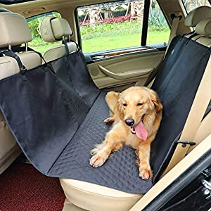 Petsfit Dog Car Seat Cover Waterproof Scratchproof Nonslip Hammock for Pets Backseat Protection Against Dirt and Pet Fur