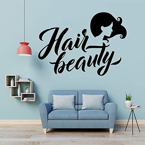 Yaonuli Haarschoonheidssalon, muursticker, vinyl, decoratie voor haar, schoonheidssalon, decoratie, afneembare applicatie, muurschildering