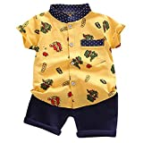 Allence Kleinkind Kinder Baby Jungen Bekleidung Set Star/Dinosaurier Drucken Gentleman Shirt Tops Shorts Outfits Set