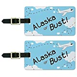 Graphics & More Alaska Or Bust Flying Airplane Luggage Suitcase Carry-on Id Tags, White