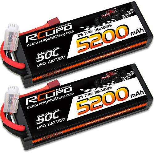 7.4V Lipo Battery 5200mah 50C 2S Lipos HardCase with Dean(T) Plug for Traxxas 1/10 Scale/Hoss 4X4 VXL/TRX-4/Tamiya Ford GT4/TLR 22X-4 1/10 4WD Buggy/Arrma/RC Car/RC Models(2PCS)