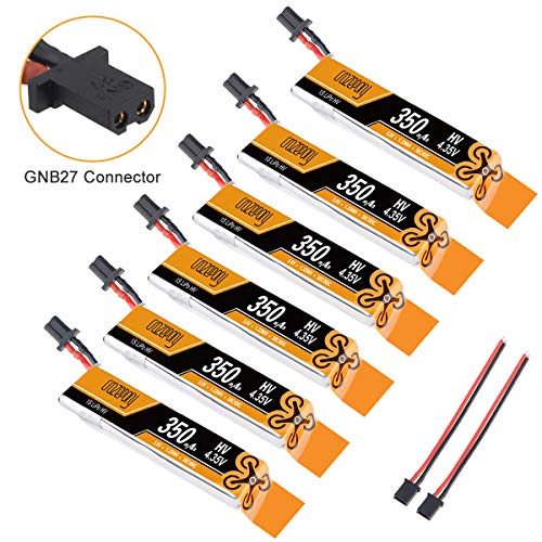 350mAh 1S Lipo Batterie HV 3.8V 30C GNB27 Anschluss für Tiny Whoop 1S Brushless Drone wie Meteor65 (6Pack)