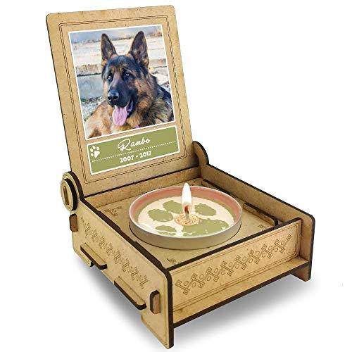 TROSTLICHT Hund, personalisierte Trauerkerze Hund, Trauergeschenk Hund Erinnerung, Gratis e-Book, Haustier Andenken Hund, statt Trauerkarte Hund