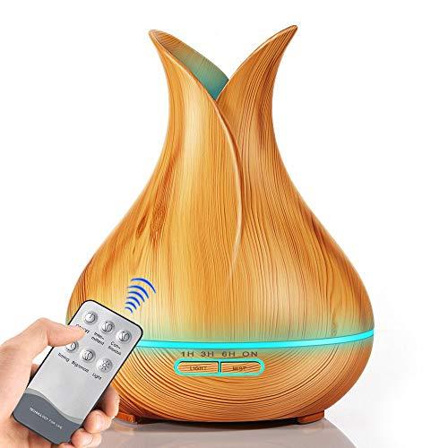 400ml Holzkorn-Aromatherapie-Maschine Ätherische Öldiffusoren Luftbefeuchter Vase Blütenarzaromen-Maschine 3 Farboptionen,lightwoodgrain