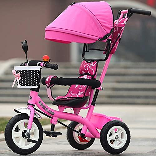GST Triciclos Trikes para niños con asa para Padres, Triciclo de Triciclo para niños de Asiento Giratorio, Bicicleta de Dosel Segura con Mango de 2-6 años, Rojo