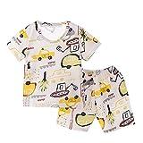 0-3 Años,SO-buts Pequeños Bebés Niños Niñas Respirables Algodón Estampado Dinosaurio Pantalones Cortos Manga Corta Conjunto De Aire Acondicionado Ropa Dormir Pijamas (Amarillo,12-18 Meses)