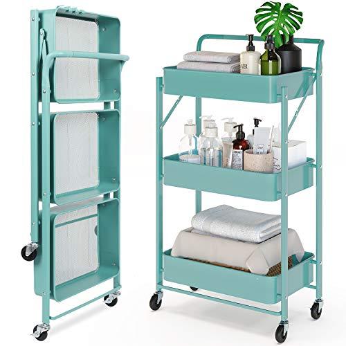 Dripex Storage Trolley Cart, 3 Tier Foldable Metal Rolling Organizer Cart...