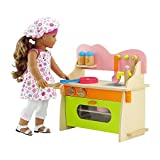 Emily Rose 18 Inch Doll Kitchen Set with Baking Oven, Stove, Sink and Wooden Doll Cookware Accessories | Fits 18' American Girl Dolls | Doll Not Included