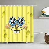 Citihomy Duschvorhangeinlage für Badezimmer Cartoon Spongebob Schwammkopf Stoff Wasserdicht Badezimmer Dekoration Dekor Design 182,9 x 182,9 cm mit 12 Packungen Vorhanghaken (7278)