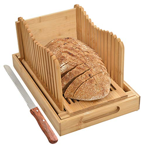 Kitchen Seven Bamboo Bread Slicer with Crumb Tray Bamboo Bread Cutter for Homemade Bread, Loaf Cakes, Bagels Slicer, 3 Slice Sizes, Adjustable, Compact, Foldable