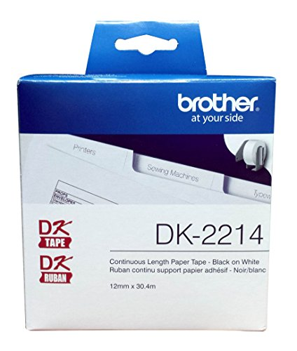 "Brother Genuine DK-2214 Continuous Length Black on White Paper Tape for Brother QL Label Printers, 0.47"" x 100' (12mm x 30.4M), 1 Roll per Box, DK2214"
