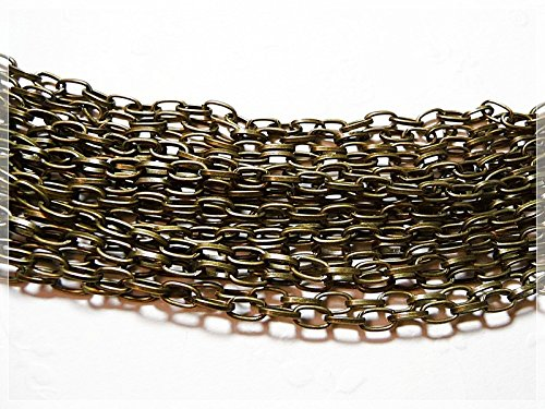 Vintageparts 2 m längliche Gliederkette in antik Bronze, DIY-Schmuck