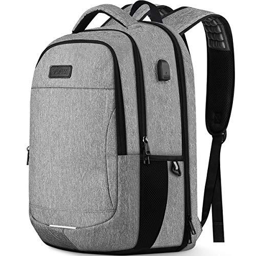 Laptop Backpack, Business Laptop Bag Waterproof Travel Rucksack, Large College School Bookbag with USB Charging Port & Headphone Hole, Computer Bag for Men Women Fits 15.6 Inch Laptop(Grey)