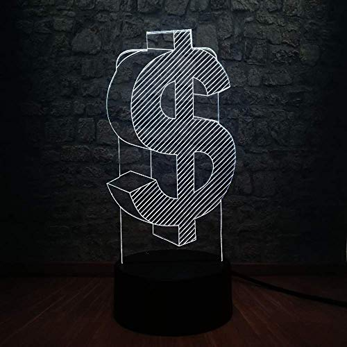 3D LED Night Light Dollar Cash USB-lamp 7 kleuren veranderende Illusie Sparkling Flash Lighting voor winkel Decoratie Gift