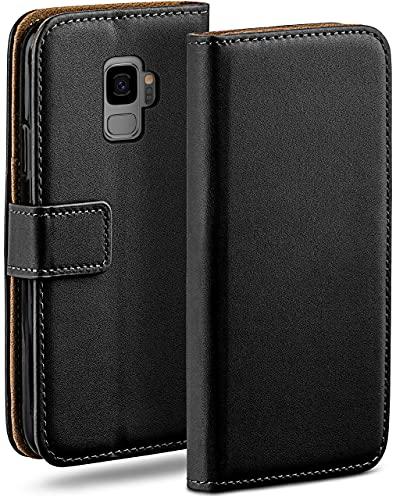 moex Klapphülle für Samsung Galaxy S9 Hülle klappbar, Handyhülle mit Kartenfach, 360 Grad Schutzhülle zum klappen, Flip Hülle Book Cover, Vegan Leder Handytasche, Schwarz