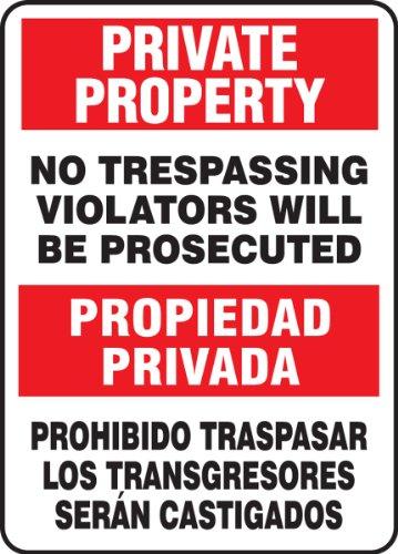 Accuform SBMATR510VA Aluminum Spanish Bilingual Sign, Legend PRIVATE PROPERTY NO TRESPASSING VIOLATORS WILL BE PROSECUTED/PROPIEDAD PRIVADA PROHIBIDO TRASPASAR LOS TRANSGRESORES SERAN CASTIGADOS, 14