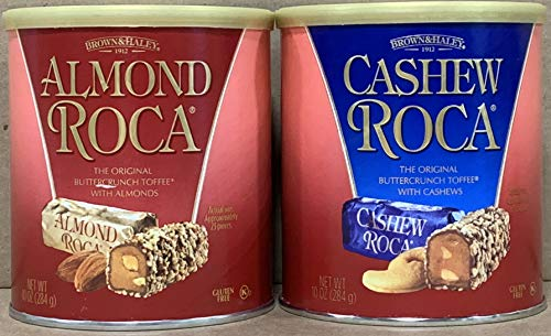 KC Commerce Almond Roca 10 Ounce Canister Variety Pack Original and Cashew Roca