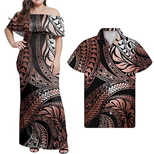 Mujeres Polinesias Verano Fuera del Hombro Vestido Maxi Camiseta de los Hombres Conjunto de Pareja