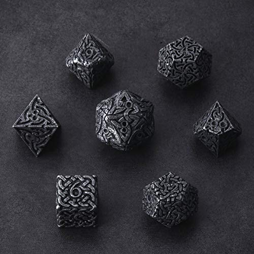 Tarnished Black Endless Darkness Dice 7 piece Polyhedral Metal Dice Set Celtic Knots Extra Heavy Extra Large for DnD Dungeons and Dragons Call of Cthulhu Pathfinder RPG Dice Rogue Dice Warlock Dice