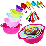 15 Piece Mixing Bowl Set, Colorful Kitchen Bowls Colander Mesh Strainer with Handles Stackable Measuring Cups and Spoons, Plastic Nesting Bowls with Easy Pour Spout for Kitchen Cooking and More