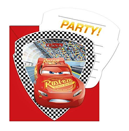 Procos 99900 87802 - Einladungskarten mit Umschlägen Cars, 6 Stück, Kindergeburtstag