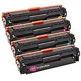 4 INK INSPIRATION® Tóners compatibles para HP LaserJet Pro 200 Color M251n M251nw MFP M276n MFP M276nw Canon LBP-7100CN LBP-7110CW MF-8230CN   Negro: 2400 páginas & Cian/Magenta/Amarillo: 1800 páginas