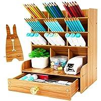 Wellerly Wooden Desk Multi-Functional Organizer w/ Drawer Easy Assembly