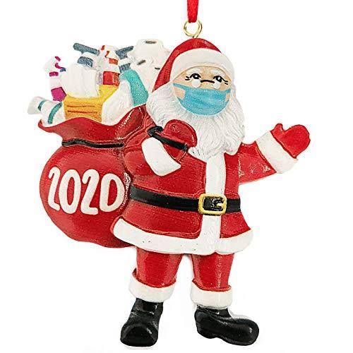 Uhada Christmas Ornament-Masked Santa, 2020 Family Personalized Decorating Resin Ornament for Xmas Home Decor (A)