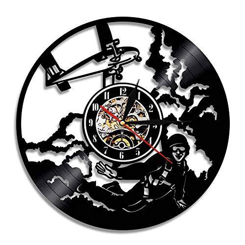 7 Colores Sky Dive Sky Jumping Reloj de Pared Decorativo Paracaídas Paracaidismo Disco de Vinilo Reloj de Pared Reloj de Pared 3D Paracaidismo Skydiver Girl