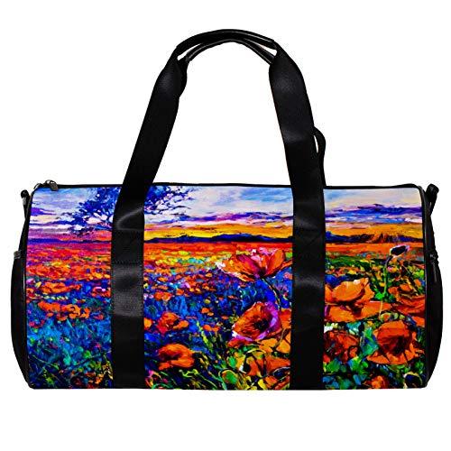 Bolsa de deporte redonda con correa de hombro desmontable pintura al óleo de campo de amapola bolsa de entrenamiento para mujeres y hombres