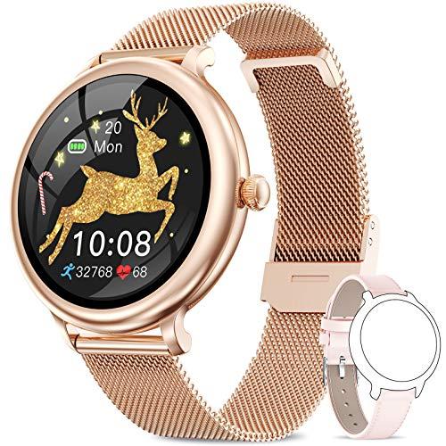 NAIXUES Smartwatch Mujer, Reloj Inteligente Impermeable IP68, Pulsera de Actividad Inteligente con Monitor de Sueño Pulsómetro Podómetro Contador de Caloría para Android iOS (Oro)