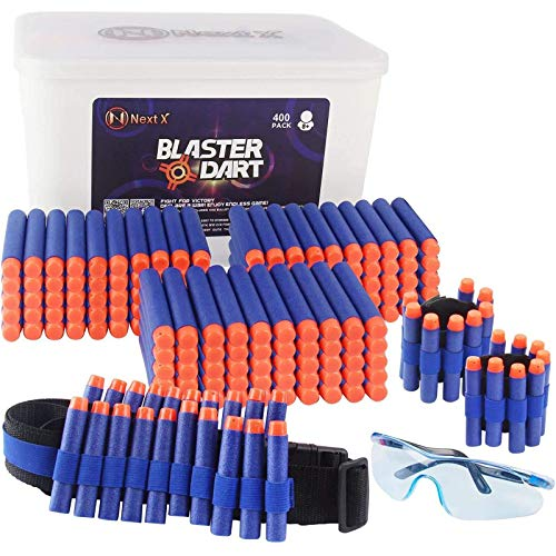 NextX Blaster Darts, 400 Pack Refill Bullets Ammo for Nerf N-Elite Series Guns Darts Gun, Toys Foam Blasters for Boys Party Favors, with Portable Box