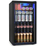 COSTWAY Beverage Refrigerator, 120 Can Beverage Cooler with LED Light, Adjustable Thermostat, Removable Shelves, Perfect for Soda, Beer or Wine, Small Drink Dispenser Machine for Office, Bar