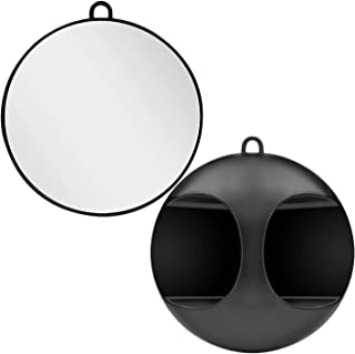 Black Hairdressing Mirror, Lightweight Handheld Round Mirror Use the Handle or Hang on the Wall for Barbers Salons and Bea...