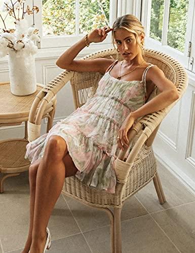 Mujer Vestido Bohemio Corto Floral Verano Vestido Sexy Vestidos de Tirantes Playa Verde XL