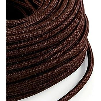 Fabriqu/é en Italie lampes Design abat jour C/âble /électrique en tissu rond Rond Style Vintage avec rev/êtement color/é lam/é argent H03VV-F section 3/x 0,75/pour lustres