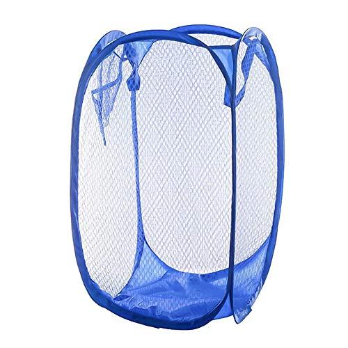 KULA Mesh Pop up Laundry Hamper Foldable Laundry Basket Portable Dirty Clothes Basket Collapsible Dirty Clothes Hamper for Bedroom, Kids Room, College Dormitory and Travel(Blue)