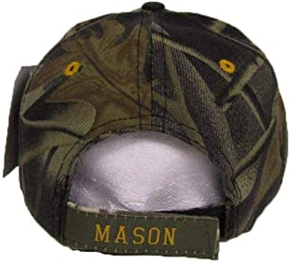 ONE NEW SUPER CAP Camo Camouflage and Gold Mason Masons Freemason Masonic Lodge Ball Cap Hat Twill One Size Fits Most with Adjustable Strap,Hoop and Loop Closure