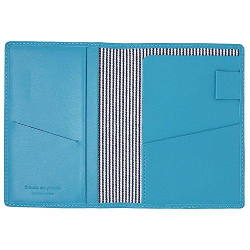 スリップオン パスポートケース ノワール 革 ターコイズブルー NSL-2801