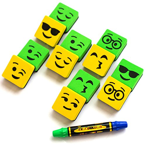 Magnetic Yellow/Green Smiley Faces Dry Erase Erasers for Whiteboard - 12 in Pack. Cleaning White Board - Two Side Markers - for Student and Teachers - Useful at School Office & Home from BundleStuff