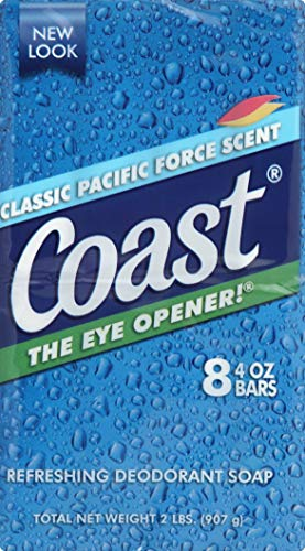 Coast Refreshing Deodorant Soap Bar - 8 Bars - Thick Rich Lather Leaves Your Body Feeling Energized And Clean - Classic Pacific Force Scent